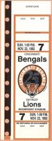 1992 Cincinnati Bengals ticket stub vs Lions