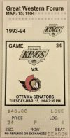 1994 Los Angeles Kings ticket stub vs Ottawa Gretzky 799th Goal
