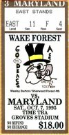 1995 NCAAF Wake Forest ticket stub vs Maryland