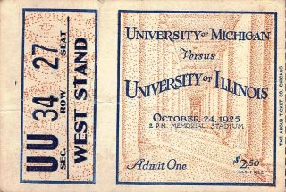 1925 NCAAF Illinois ticket stub vs Michigan