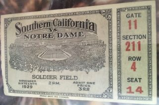 1929 NCAAF Notre Dame ticket stub vs Stanford