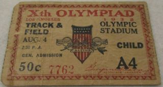 1932 Olympic Track and Field ticket stub