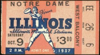 1937 NCAAF Illinois ticket stub vs Notre Dame