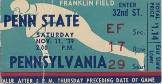 1939 NCAAF Penn Quakers ticket stub vs Penn State