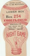 1940 Brooklyn Dodgers Night Game ticket stub