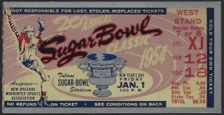 1954 Sugar Bowl ticket stub West Virginia vs Georgia Tech