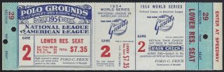 1954 World Series Game 2 Full Ticket Giants vs Indians