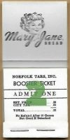 1955 Norfolk Tars Mary Jane Bread Booster Ticket Booklet