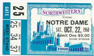 1960 NCAAF Northwestern ticket stub vs Notre Dame