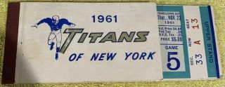 1961  New York Titans Ticket Book 3 Unused Tickets