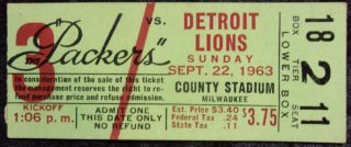 1963 Green Bay Packers ticket stub vs Detroit