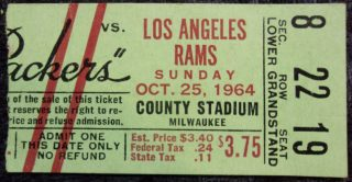 1964 Green Bay Packers ticket stub vs Rams