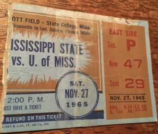 1965 Egg Bowl Ticket Stub Ole Miss vs Mississippi State