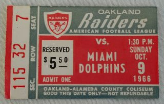 1966 Oakland Raiders ticket stub vs Kansas City