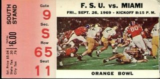 1969 NCAAF Miami Hurricanes ticket stub vs Florida State