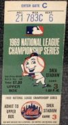 1969 NLCS Game 3 ticket stub Mets vs Braves