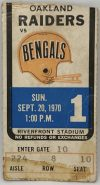 1970 Cincinnati Bengals ticket stub vs Raiders