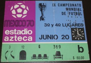 1970 FIFA World Cup 3rd Place Game ticket stub
