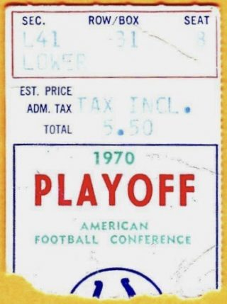 1970 NFL Playoffs Colts vs Bengals ticket stub