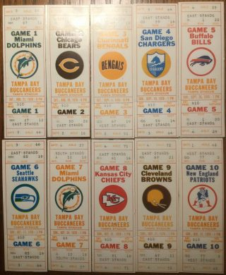 1976 Tampa Bay Buccaneers Complete First Season Tickets
