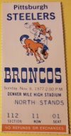 1977 Denver Broncos ticket stub vs Steelers