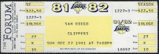 1981 Los Angeles Lakers ticket stub vs Clippers