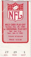 1980 NFL Divisional Playoff Cowboys ticket stub vs Rams