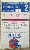 1985 Buffalo Bills ticket stub vs Chargers Andre Reed debut