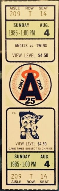 1985 Rod Carew 3000th Hit Angels Ticket Stub