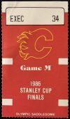 1986 Stanley Cup Final Game 2 ticket stub Flames vs Canadiens