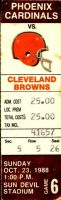 1988 Cleveland Browns ticket stub vs Phoenix Cardinals
