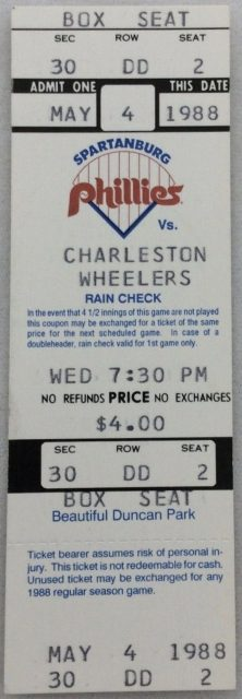 1988 Spartanburg Phillies ticket stub vs Charleston
