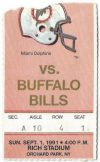 1991 Buffalo Bills ticket stub vs Dolphins