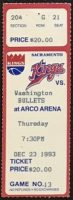 1993 Sacramento Kings ticket stub vs Bullets