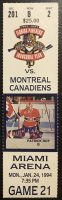 1994 Florida Panthers ticket stub vs Canadiens