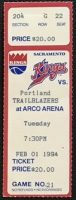 1994 Sacramento Kings ticket stub vs Trail Blazers