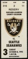 1995 Oakland Raiders ticket stub vs Seahawks