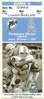 1997 Tennessee Oilers ticket stub vs Dolphins