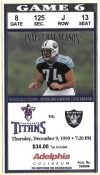 1999 Tennessee Titans ticket stub vs Raiders