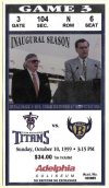 1999 Tennessee Titans ticket stub vs Ravens