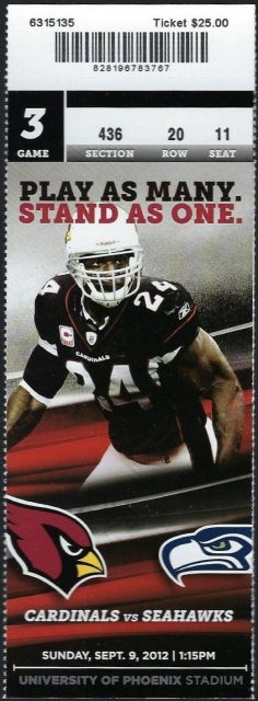 2012 Arizona Cardinals ticket stub vs Seahawks