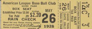1928 Philadelphia Athletics Ticket Stub vs Yankees