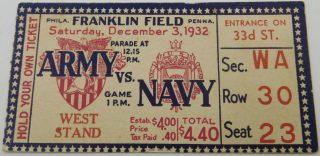 1932 Army vs Navy ticket stub Franklin Field