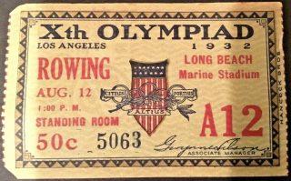 1932 Olympics Rowing Finals Ticket Stub