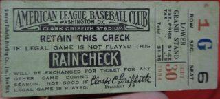 1934 Washington Senators ticket stub vs Yankees
