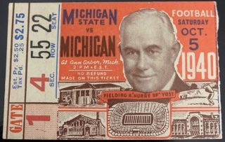 1940 NCAAF Michigan Wolverines ticket stub vs Michigan State
