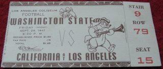 1941 NCAAF UCLA Bruins ticket stub vs Washington State