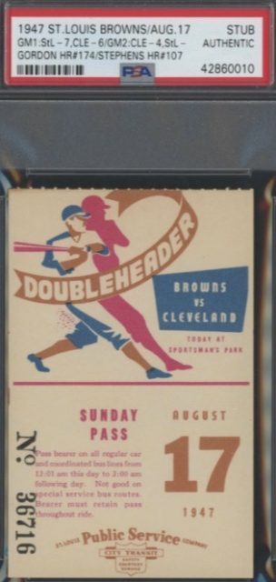 1947 St. Louis Browns vs Cleveland Indians Doubleheader ticket stub