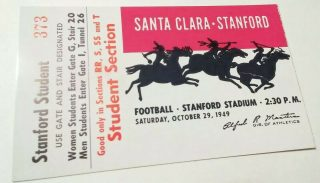 1949 NCAAF Stanford ticket stub vs Santa Clara