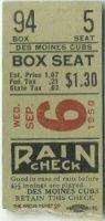 1950 Des Moines Bruins ticket stub